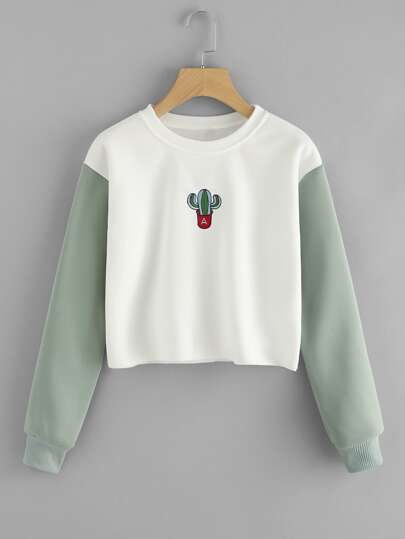 Cactus Embroidered Contrast Sleeve Raw Hem Sweatshirt