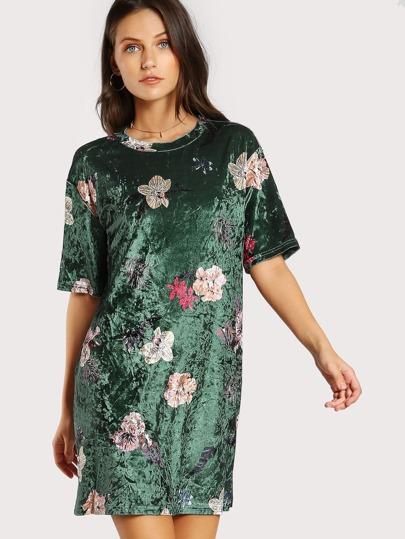 Vestido floral de terciopelo