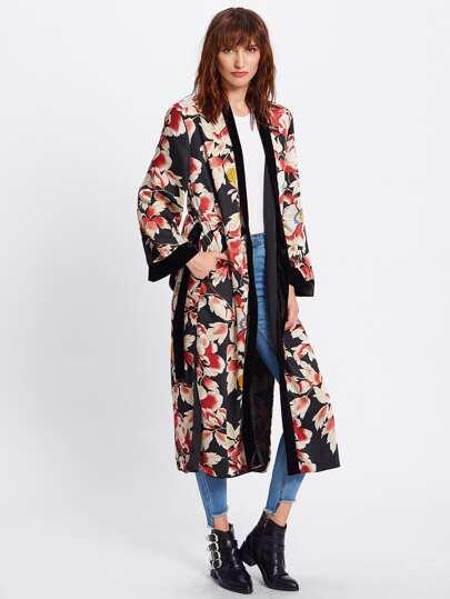 Kimono avec lacet de taille imprimé