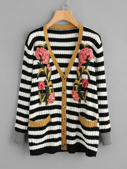 Flower Patch Rib Knit Striped Cardigan