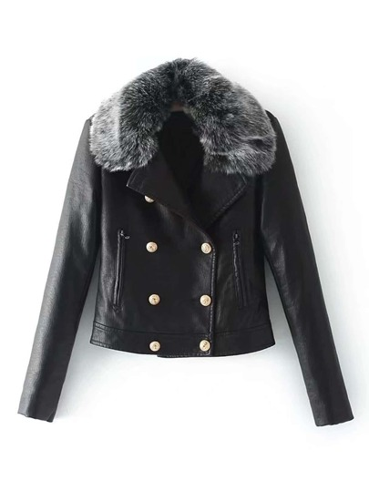 PU Jacket With Faux Fur