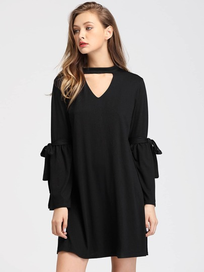 V Cut Fluted Sleeve Tie Detail Dress