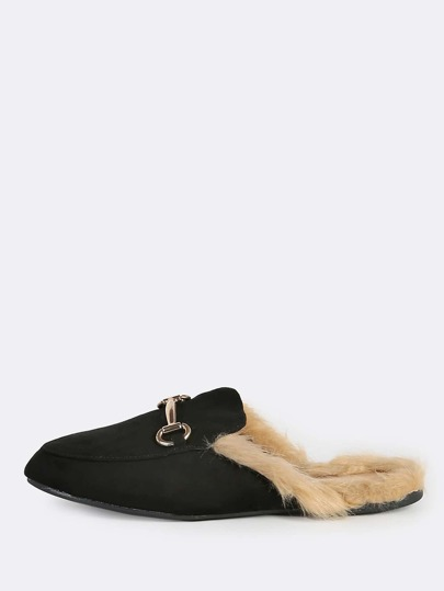 Faux Suede Fur Lined Loafers BLACK