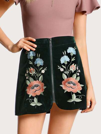 Floral Embroidered Zip Up Skirt DARK TEAL