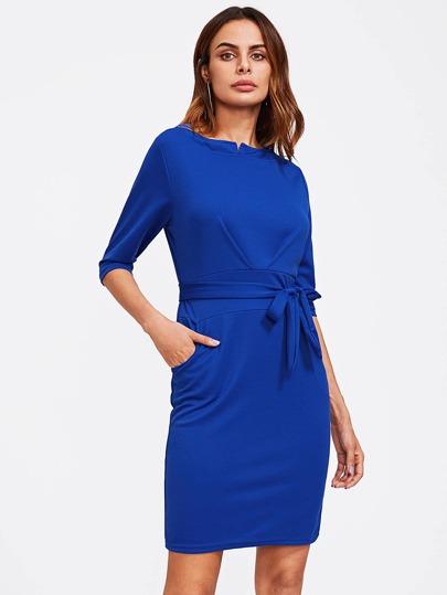 Hidden Pocket Side Tie Waist Dress