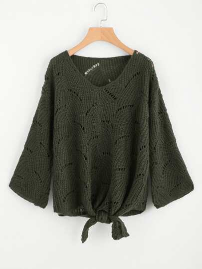 Loose Knit Knotted Front Jumper