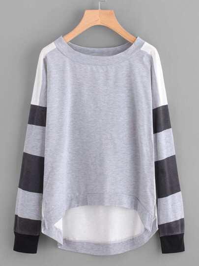 Striped Sleeve Dip Hem Sweatshirt