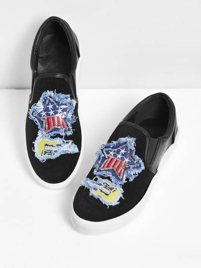 Star & Guitar Patch Slip On Sneakers