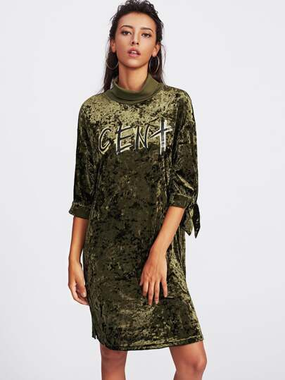 Rolled Neck Tied Cuff Crushed Velvet Dress