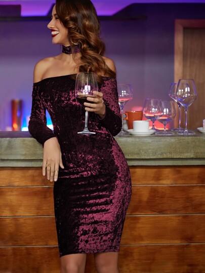 Bardot Velvet Dress With Choker