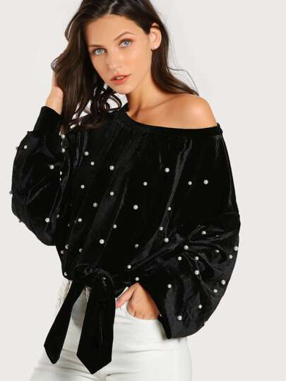 Pearl Beaded Asymmetric Shoulder Velvet Pullover