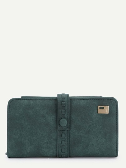 Button Front Foldover PU Wallet