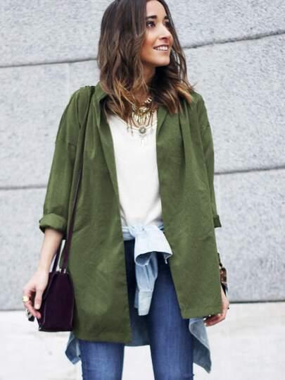 veste avec ceinture col V -vert kaki