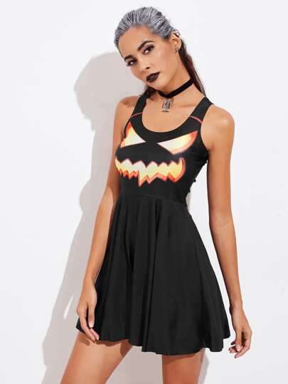 Halloween Pumpkin Print Fit & Flare Dress