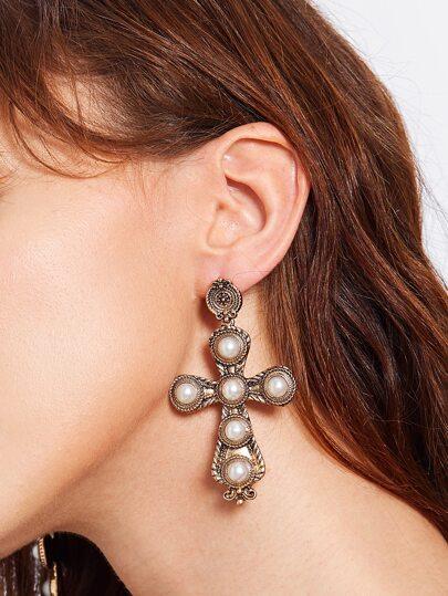 Faux Pearl Cross Design Drop Earrings