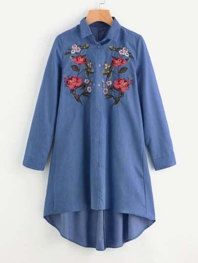 Embroidered Patch Dip Hem Denim Shirt Dress