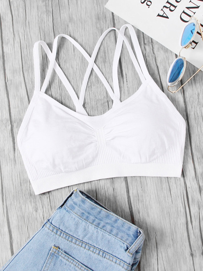Ruched Detail Double Straps Sports Bra
