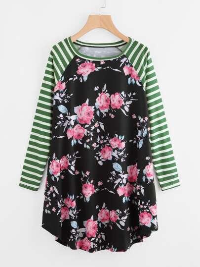 Striped Raglan Sleeve Floral Tee Dress