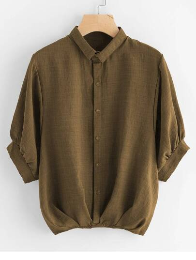 Lantern Sleeve Pleated Detail Shirt
