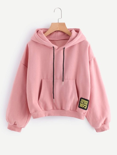 Drop Shoulder Patch Detail Hoodie