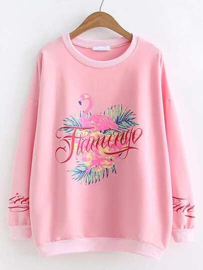 Flamingo Print Oversized Sweatshirt