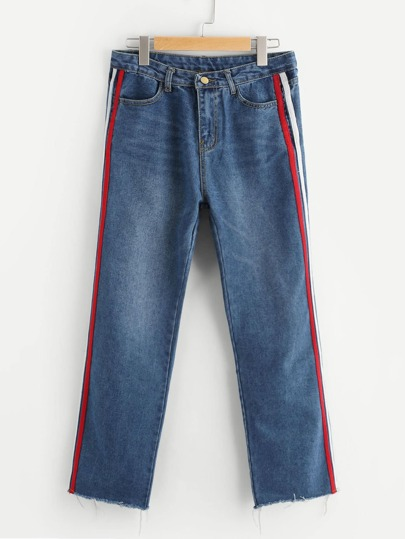 Contrast Side Striped Straight Jeans