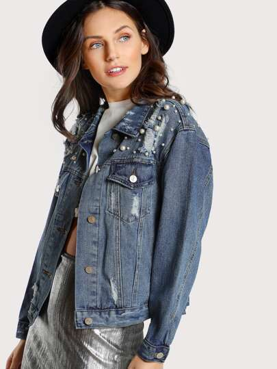 Pearl Embellished Denim Jacket DENIM