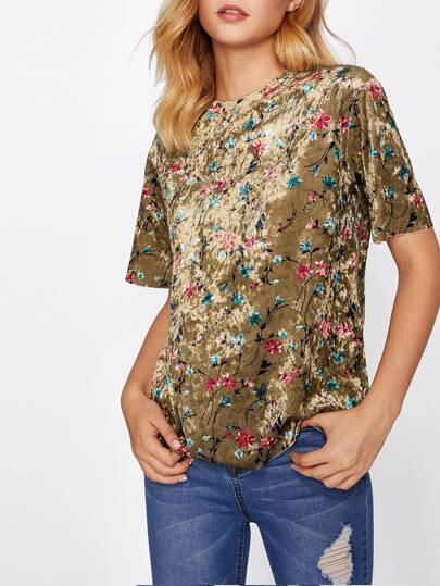 Botanical Crushed Velvet Top