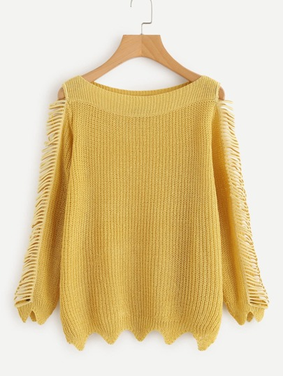 Boat Neckline Fringe Trim Wave Hem Sweater