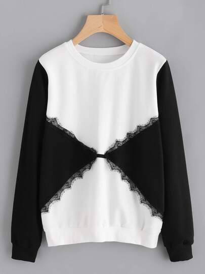 Color Block Lace Trim Sweatshirt