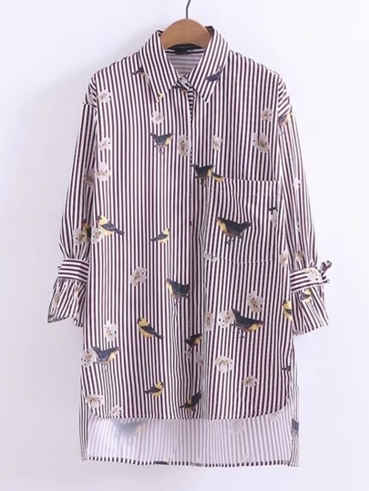 Bird Print Dip Hem Striped Shirt Dress
