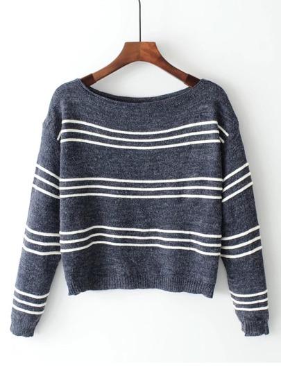 Suéter de rayas de cuello barco