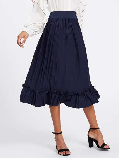 Box Pleated Ruffle Skirt