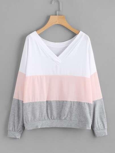 V-neckline Drop Shoulder Cut & Sew Sweatshirt