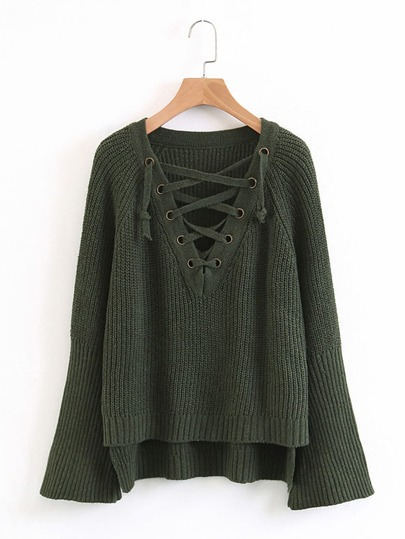 Lace Up Plunge Neckline Dip Hem Sweater