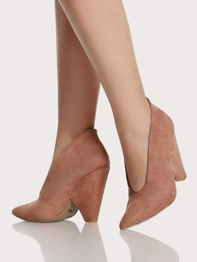 Point Toe Faux Suede Triangle Heel DARK BLUSH