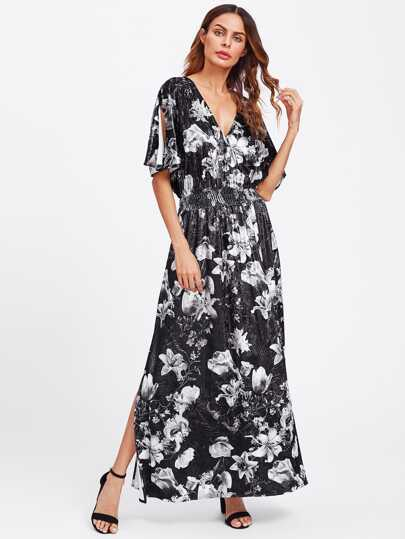 Split Sleeve Shirred Waist Floral Velvet Dress