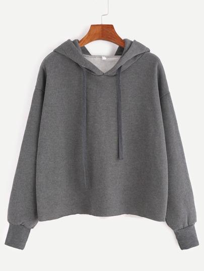 Grey Hooded Drop Shoulder Sweatshirt
