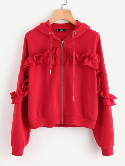 Drop Shoulder Shirred Frill Trim Zip Up Hoodie