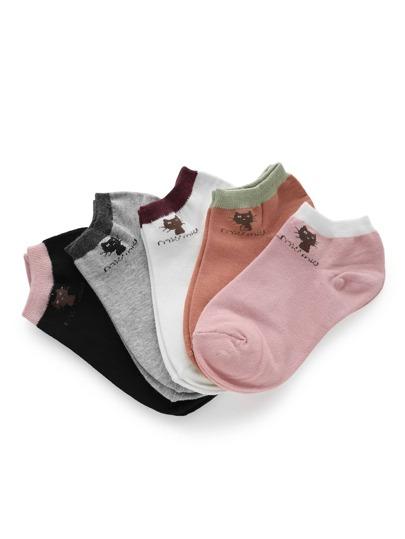 5 pares de calcetines con estampado de gato con ribete en contraste