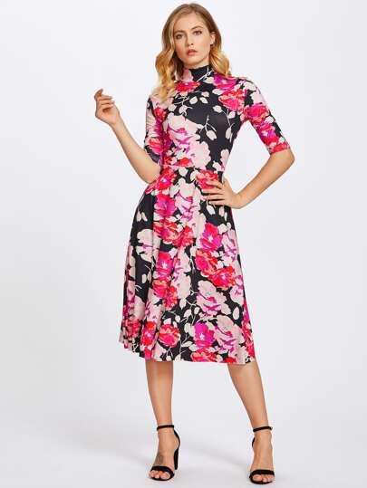 Vestido floral de manga al codo con lazo para atar