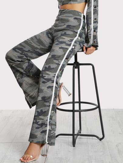 Snap Button Camo Sweatpants ARMY
