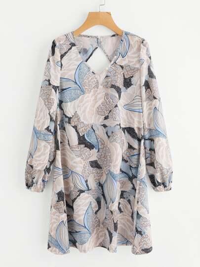 Robe floral avec dos découpé