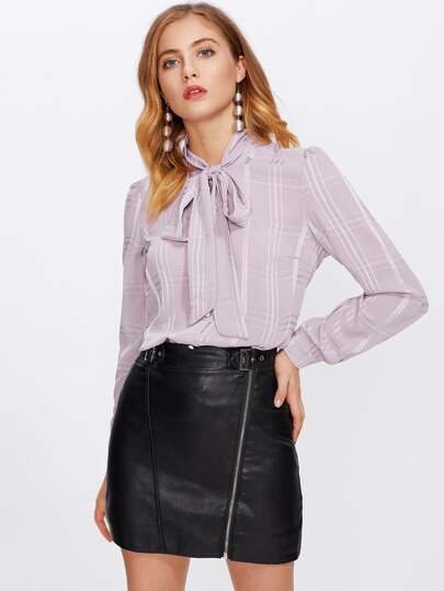 Bow Tie Neck Curved Hem Blouse