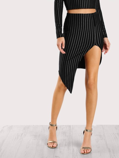 Asymmetric Hem Striped Skirt BLACK