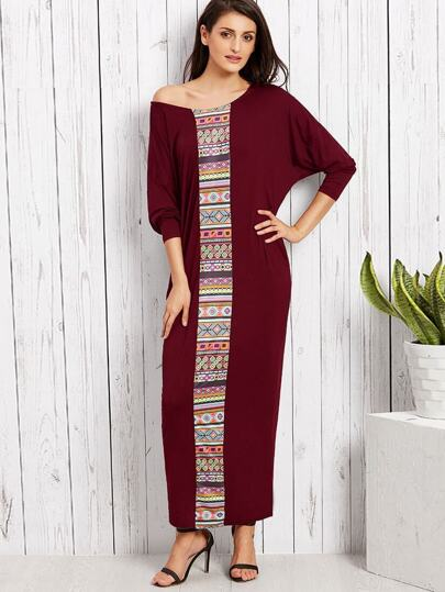Tribal Print Dolman Sleeve Kaftan Dress