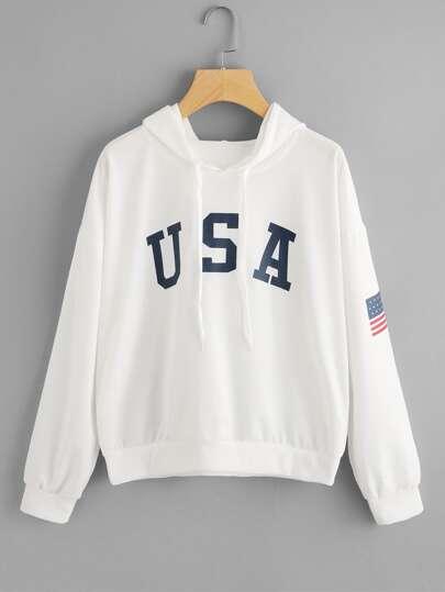 Hoodie mit amerikanischem Flaggemuster