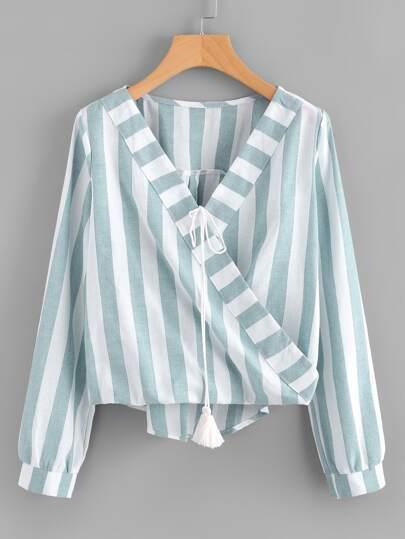 Blusa cruzada con cordón con fleco de rayas en contraste