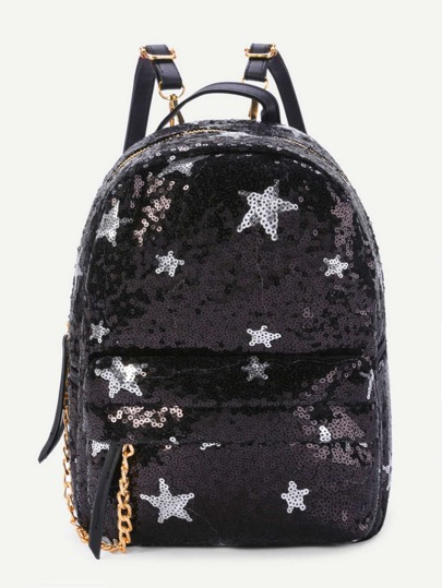 Star Pattern Sequin Overlay Backpack