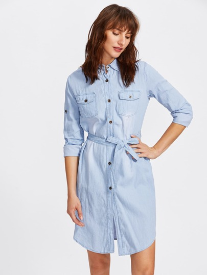 Rolled Up Sleeve Tie Waist Denim Shirt Dress